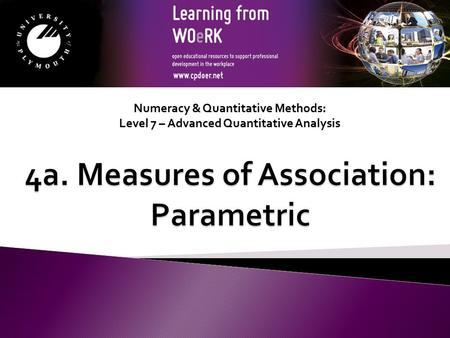 Numeracy & Quantitative Methods: Level 7 – Advanced Quantitative Analysis.