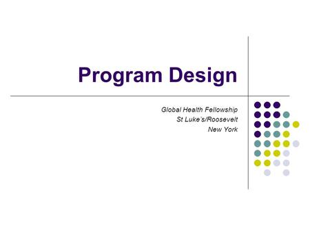 Program Design Global Health Fellowship St Luke's/Roosevelt New York.