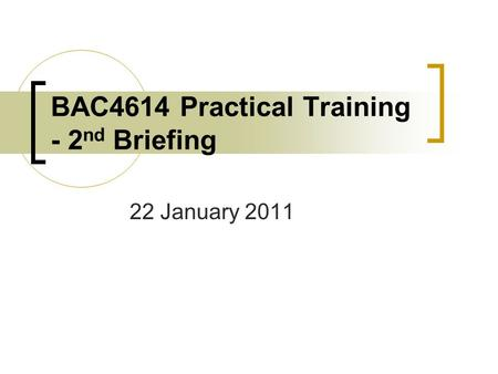 BAC4614 Practical Training - 2 nd Briefing 22 January 2011.