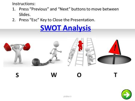"SWOT Analysis S W O T phdkar.ir Instructions: 1.Press ""Previous"" and ""Next"" buttons to move between Slides. 2.Press ""Esc"" Key to Close the Presentation."