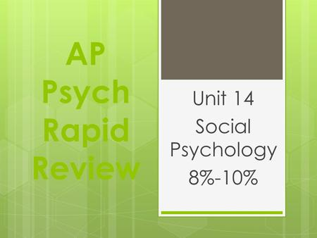 AP Psych Rapid Review Unit 14 Social Psychology 8%-10%