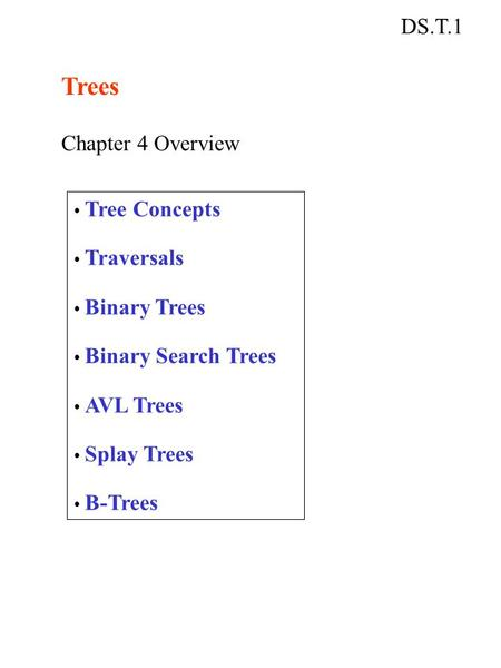 DS.T.1 Trees Chapter 4 Overview Tree Concepts Traversals Binary Trees Binary Search Trees AVL Trees Splay Trees B-Trees.