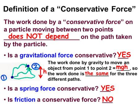"Definition of a ""Conservative Force"" The work done by a ""conservative force"" on a particle moving between two points ______________________ on the path."