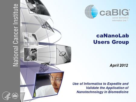CaNanoLab Users Group April 2012 Use of Informatics to Expedite and Validate the Application of Nanotechnology in Biomedicine.