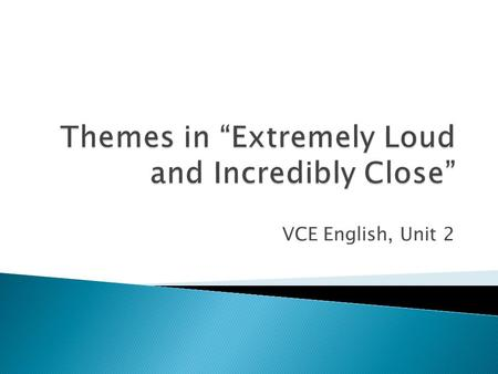 VCE English, Unit 2.  A theme is an idea or point that is central to the story.  It is usually summed up in one or a few words  It is often connected.