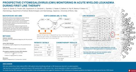 PROSPECTIVE CYTOMEGALOVIRUS (CMV) MONITORING IN ACUTE MYELOID LEUKAEMIA DURING FIRST LINE THERAPY Capria S, Gentile G, Trisolini SM, Capobianchi A, Cardarelli.