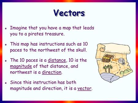 VectorsVectors Imagine that you have a map that leads you to a pirates treasure. This map has instructions such as 10 paces to the northwest of the skull.