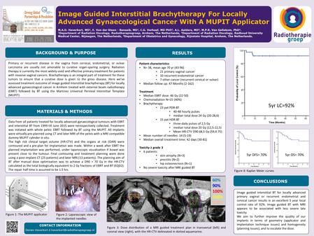 Image Guided Interstitial Brachytherapy For Locally Advanced Gynaecological Cancer With A MUPIT Applicator M.A.D. Haverkort, MD 1, E. Van der Steen - Banasik,