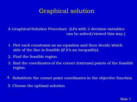 1 1 Slide Graphical solution A Graphical Solution Procedure (LPs with 2 decision variables can be solved/viewed this way.) 1. Plot each constraint as an.