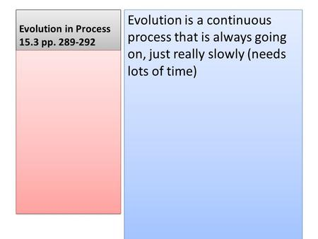 Evolution in Process 15.3 pp. 289-292 Evolution is a continuous process that is always going on, just really slowly (needs lots of time)