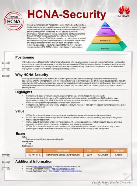 HCNA-Security Huawei Certified Network Associate Security (HCNA-Security) validates the basics of network security knowledge and skills to support the.