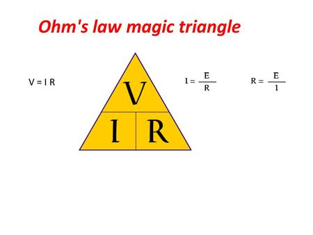 Ohm's law magic triangle V = I R. Ohms law, defines the relationship between voltage, current and resistance. These basic electrical units apply to direct.