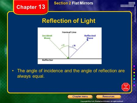 Copyright © by Holt, Rinehart and Winston. All rights reserved. ResourcesChapter menu Section 2 Flat Mirrors Chapter 13 Reflection of Light The angle.