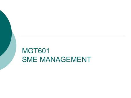 MGT601 SME MANAGEMENT. Lesson 07 Government Efforts Towards SME Development.