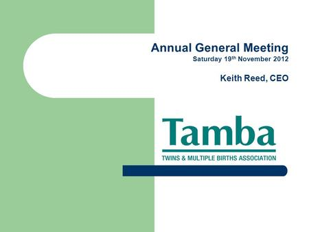 Annual General Meeting Saturday 19 th November 2012 Keith Reed, CEO.