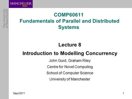 Sept 2011 1 COMP60611 Fundamentals of Parallel and Distributed Systems Lecture 8 Introduction to Modelling Concurrency John Gurd, Graham Riley Centre for.