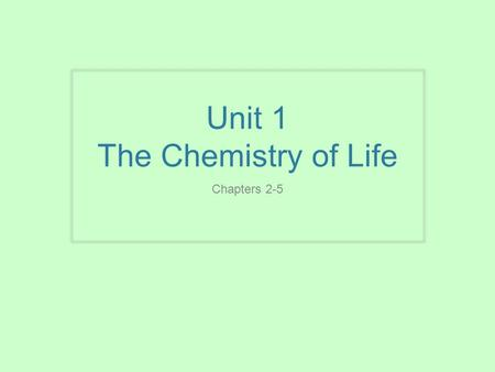 Unit 1 The Chemistry of Life Chapters 2-5. Chapter 2 The chemical context of life You must know: The 3 subatomic particles & their significance The types.