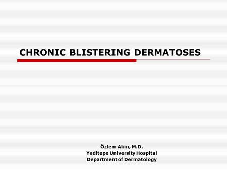 CHRONIC BLISTERING DERMATOSES Özlem Akın, M.D. Yeditepe University Hospital Department of Dermatology.