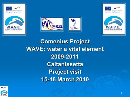 1 Comenius Project WAVE: water a vital element 2009-2011Caltanissetta Project visit 15-18 March 2010.
