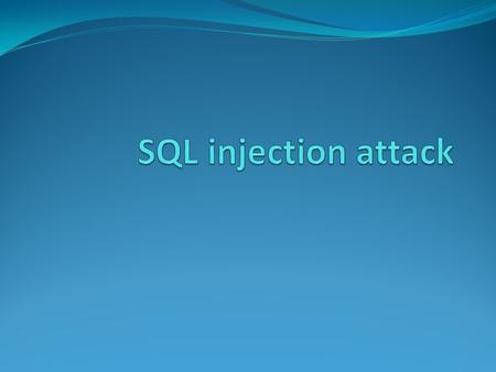 "Introduction SQL Injection is a very old security attack. It first came into existence in the early 1990's ex: ""Hackers"" movie hero does SQL Injection."