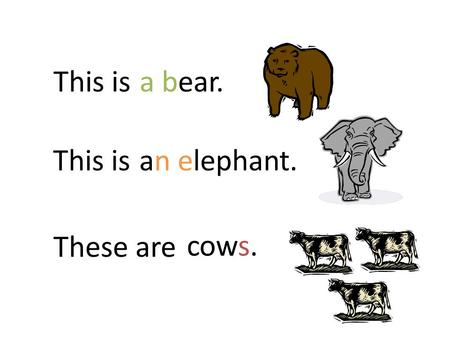 This isa bear. This isan elephant. These are cows.