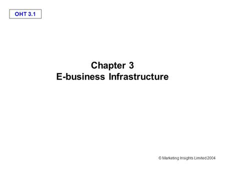OHT 3.1 © Marketing Insights Limited 2004 Chapter 3 E-business Infrastructure.