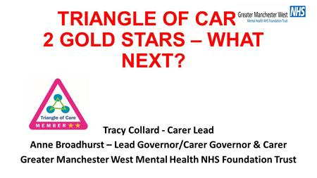 TRIANGLE OF CARE 2 GOLD STARS – WHAT NEXT? Tracy Collard - Carer Lead Anne Broadhurst – Lead Governor/Carer Governor & Carer Greater Manchester West Mental.