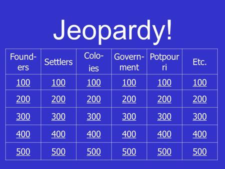 Jeopardy! Found- ers Settlers Colo- ies Govern- ment Potpour ri Etc. 100 200 300 400 500.