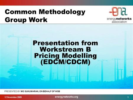 12 November 20091 energynetworks.org 1 PRESENTED BY MO SUKUMARAN, ON BEHALF OF WSB Presentation from Workstream B Pricing Modelling (EDCM/CDCM) Common.