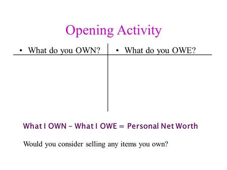 Opening Activity What do you OWN?What do you OWE? What I OWN – What I OWE = Personal Net Worth Would you consider selling any items you own?