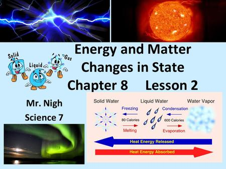 Energy and Matter Changes in State Chapter 8 Lesson 2 Mr. Nigh Science 7.
