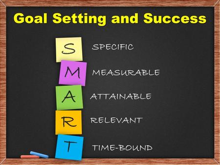 Goal Setting and Success SPECIFIC S MEASURABLE M A ATTAINABLE R RELEVANT T TIME-BOUND.
