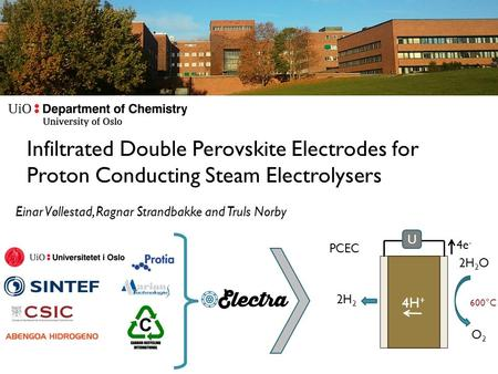 Infiltrated Double Perovskite Electrodes for Proton Conducting Steam Electrolysers Einar Vøllestad, Ragnar Strandbakke and Truls Norby U 4H + 2H 2 O2O2.