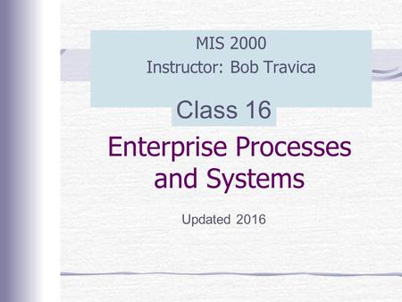 Enterprise Processes and Systems MIS 2000 Instructor: Bob Travica Updated 2016 Class 16.