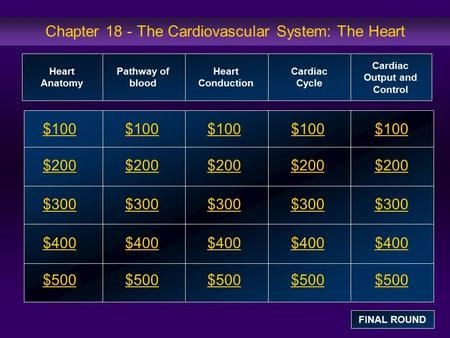 Chapter 18 - The Cardiovascular System: The Heart $100 $200 $300 $400 $500 $100$100$100 $200 $300 $400 $500 Heart Anatomy Pathway of blood Heart Conduction.