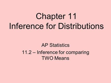 Chapter 11 Inference for Distributions AP Statistics 11.2 – Inference for comparing TWO Means.