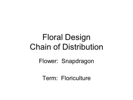 Floral Design Chain of Distribution Flower: Snapdragon Term: Floriculture.