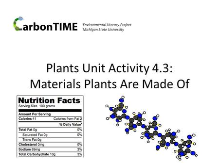 Environmental Literacy Project Michigan State University Plants Unit Activity 4.3: Materials Plants Are Made Of.