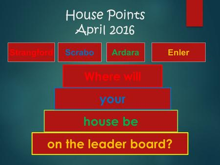 House Points April 2016 house be on the leader board? your Where will StrangfordScraboArdaraEnler.