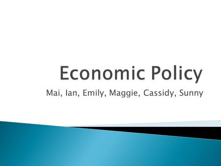 Mai, Ian, Emily, Maggie, Cassidy, Sunny. Action the government takes in the economic field.