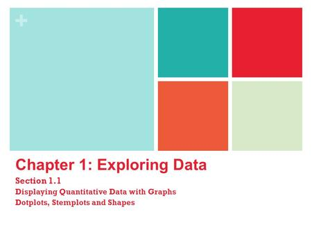 + Chapter 1: Exploring Data Section 1.1 Displaying Quantitative Data with Graphs Dotplots, Stemplots and Shapes.
