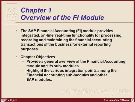 Overview of the FI Module 4.6fi_01.1 Chapter 1 Overview of the FI Module The SAP Financial Accounting (FI) module provides integrated, on-line, real-time.
