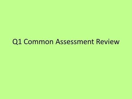 Q1 Common Assessment Review. 1.) Which of the following would be considered an observation? a.) Cows and deer compete for the same food source b.) A man.