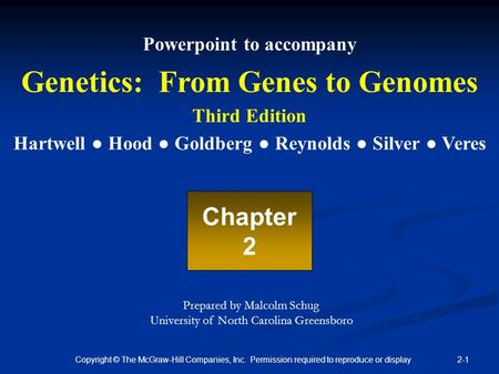 2-1 Copyright © The McGraw-Hill Companies, Inc. Permission required to reproduce or display Powerpoint to accompany Genetics: From Genes to Genomes Third.