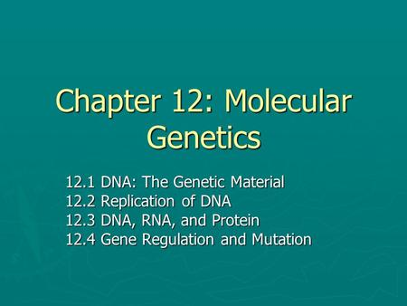 Chapter 12: Molecular Genetics 12.1 DNA: The Genetic Material 12.2 Replication of DNA 12.3 DNA, RNA, and Protein 12.4 Gene Regulation and Mutation.