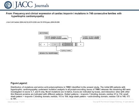 Date of download: 7/7/2016 Copyright © The American College of Cardiology. All rights reserved. From: Frequency and clinical expression of cardiac troponin.