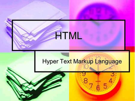 HTML Hyper Text Markup Language. What is HTML HTML stands for the Hyper Text Markup Language. HTML stands for the Hyper Text Markup Language. HTML is.