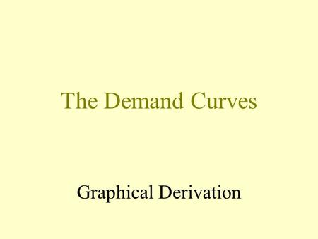 The Demand Curves Graphical Derivation x x y pxpx In this part of the diagram we have drawn the choice between x on the horizontal axis and y on the.