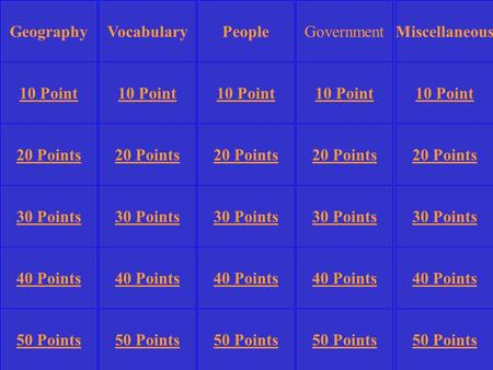 VocabularyGovernmentMiscellaneous 10 Point 20 Points 30 Points 40 Points 50 Points 10 Point 20 Points 30 Points 40 Points 50 Points 30 Points 40 Points.