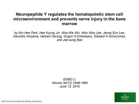 Neuropeptide Y regulates the hematopoietic stem cell microenvironment and prevents nerve injury in the bone marrow by Min Hee Park, Hee Kyung Jin, Woo.